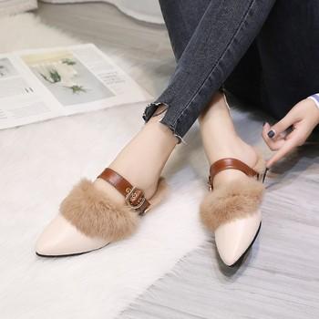 Prawdziwe futrzane klapki kobieta 2019 muły damskie futrzane kapcie zimowe ciepłe damskie buty modne pantofle sierść królika tanie i dobre opinie IMKKG CN (pochodzenie) RUBBER Niska (1 cm-3 cm) Dobrze pasuje do rozmiaru wybierz swój normalny rozmiar latex women shoes