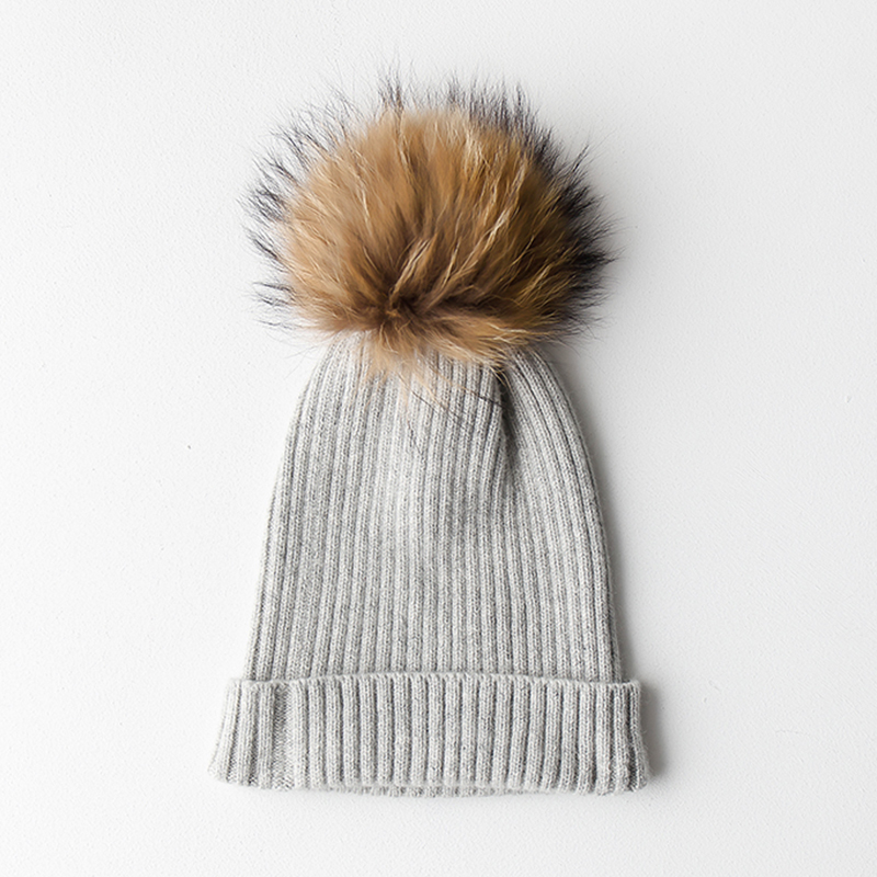 Pompoms Fur Knitted Winter Hats For Women Pompoms Beanies Thick Winter Hats Natural Wool Female Beanies Caps Warm Hat