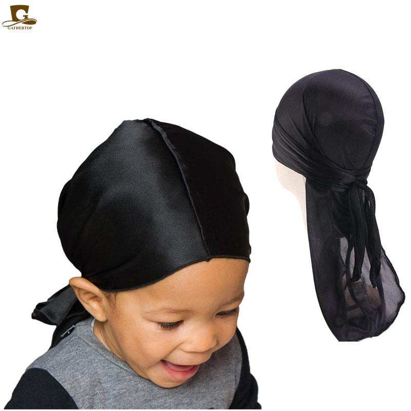 Durags-Turban en soie pour enfants, bonnet en soie pour garçons, Turban en soie, couture d'extérieur, accessoires pour cheveux, bandeau serre-tête
