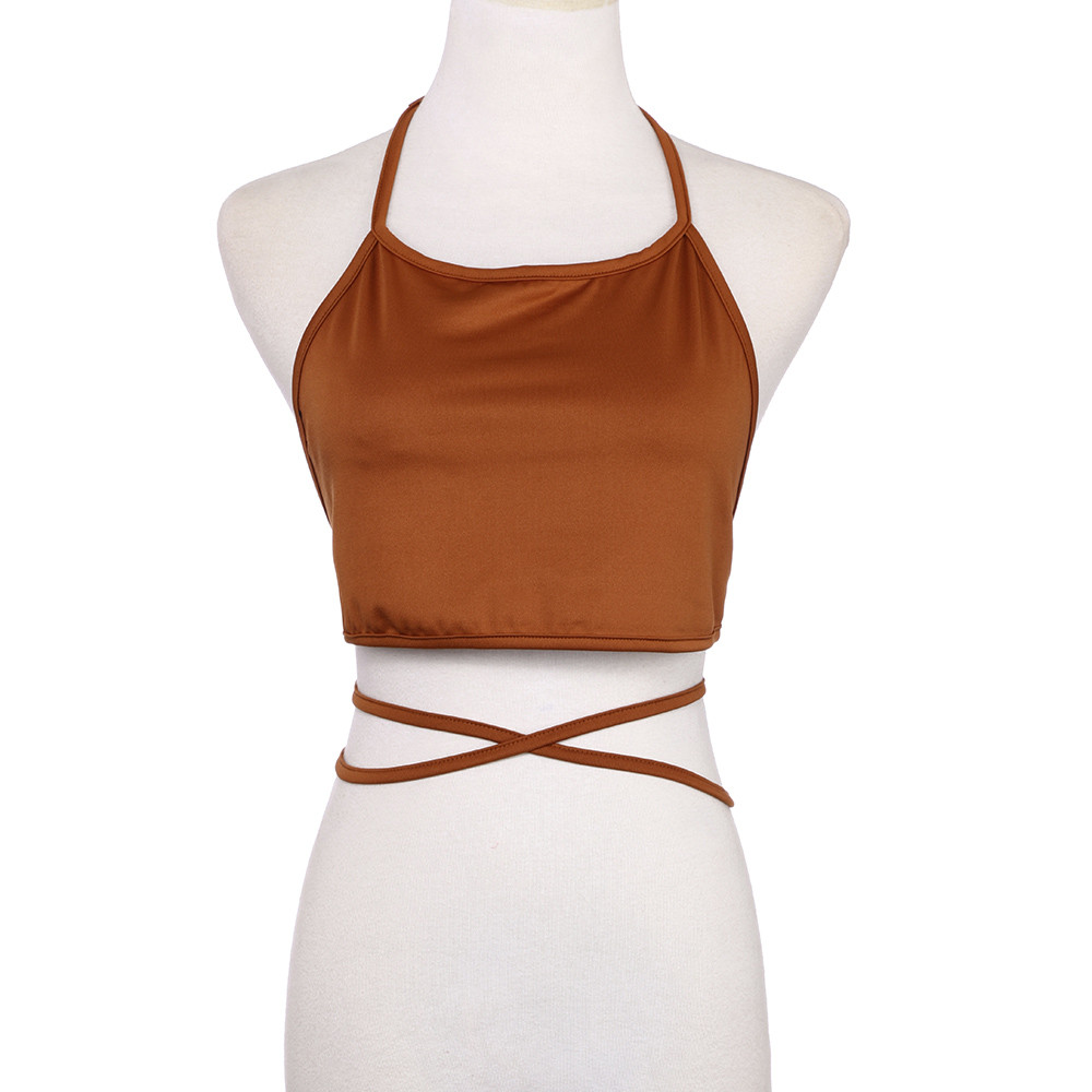 Fashion Sexy Women Backless Spaghetti Strap Shirt Model Tank Top Bra Wrap Vest Chest Bra  Tops Hot Sale 2020