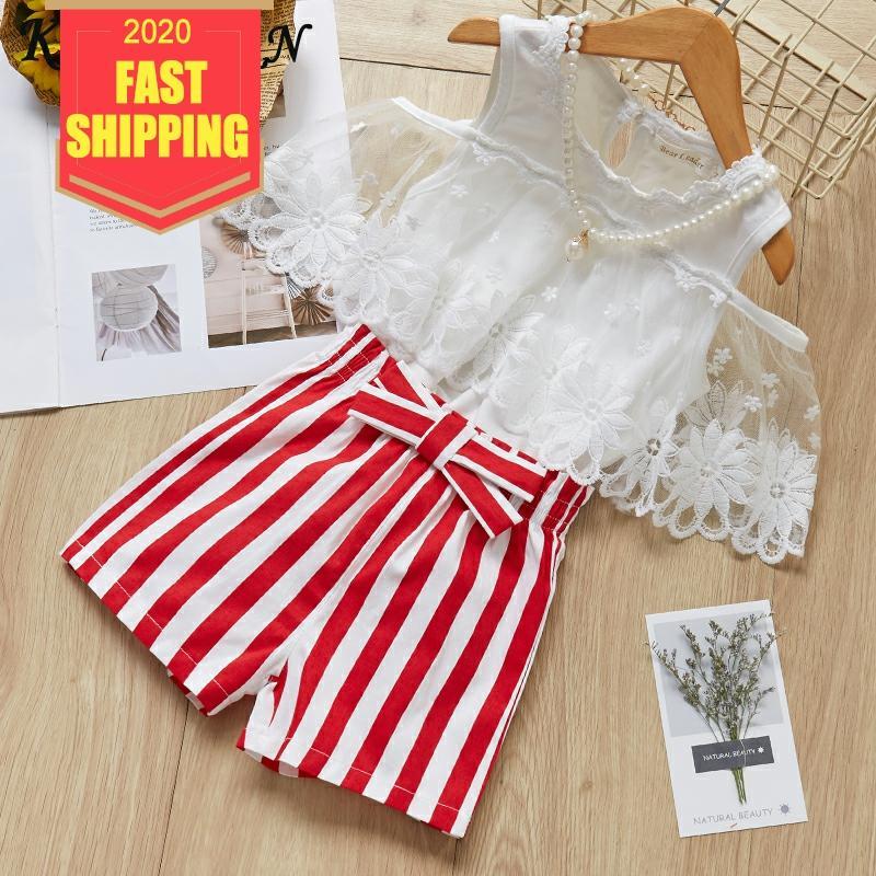 Summer Toddler Kids Girl Ruffle Shirt Top Shorts Pants 2Pcs Outfits Set Clothes