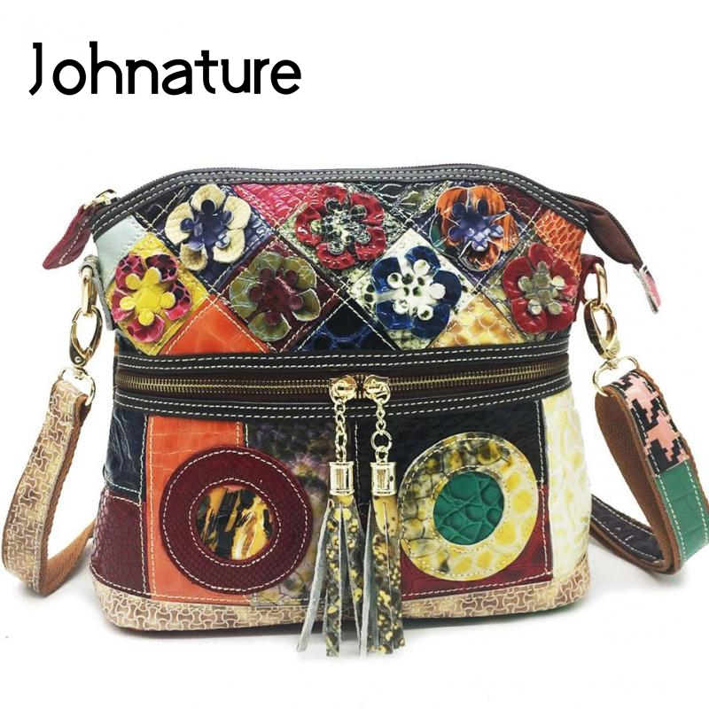 Johnature Cow Leather Splicing Retro Women Shoulder Bags 2020 New Leisure Multicolor Flower Crossbody Bags Female Messenger Bag