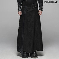 Gothic personality Men jacquard Long skirt trousers fashion black Joint Leather Side metal Chain Stage Pants PUNK RAVE WQ 437BQM