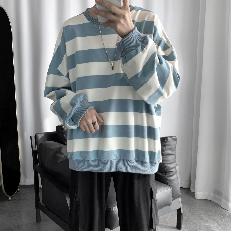 2019 Fashion Striped Men Hoodies Harajuku  Streetwear Contrast Color Korean Style Tops Hoodie Sweatshirt S-2XL 1