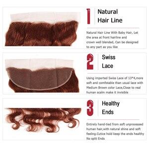 Image 5 - Коричневые Бразильские человеческие волосы 33 #, пряди с фронтальной 13*4, волосы KEMY, 100% человеческие волосы без повреждений, пряди, 3/4 шт.