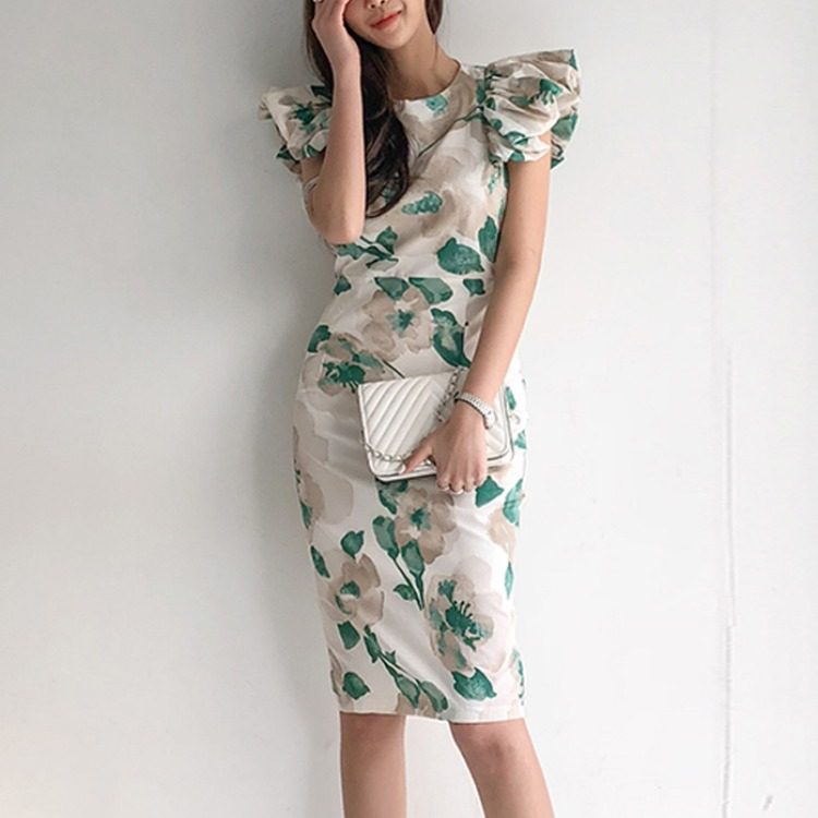 2020 summer new ladies' temperament round neck slim slimming printed bag hip dress Sheath  Sleeveless  Office Lady