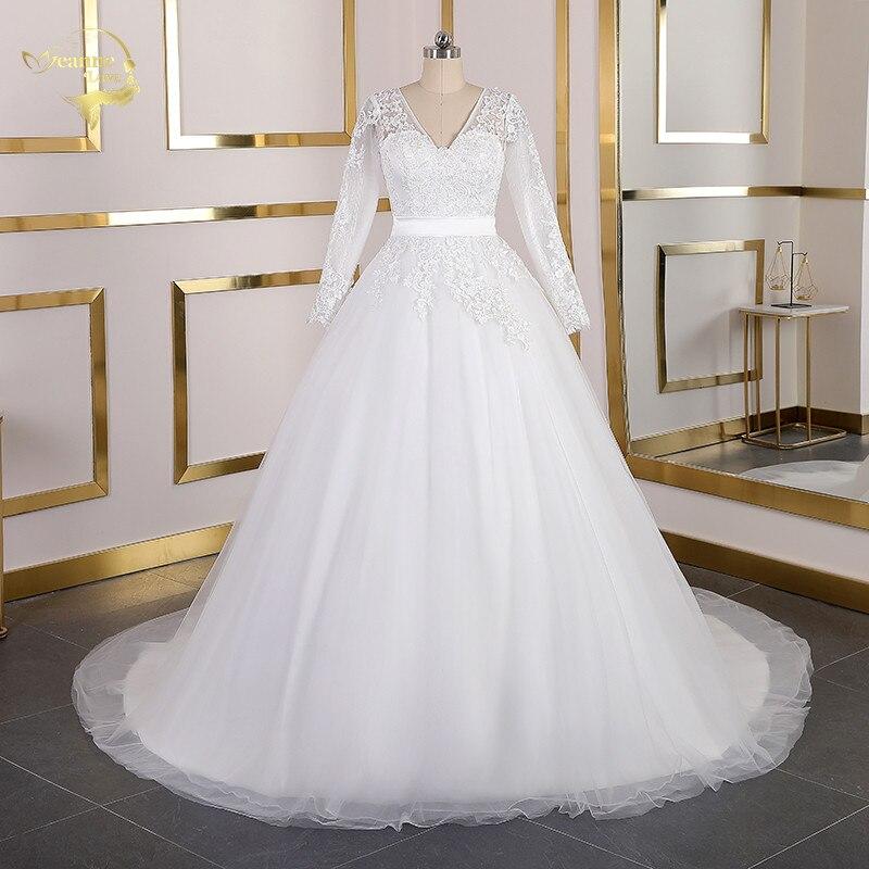 Real Photos Long Sleeves Lace Wedding Dresses V Neck Court Train Wedding Gowns Bridal Gowns Lace Up Plus Size Vestido De Noiva