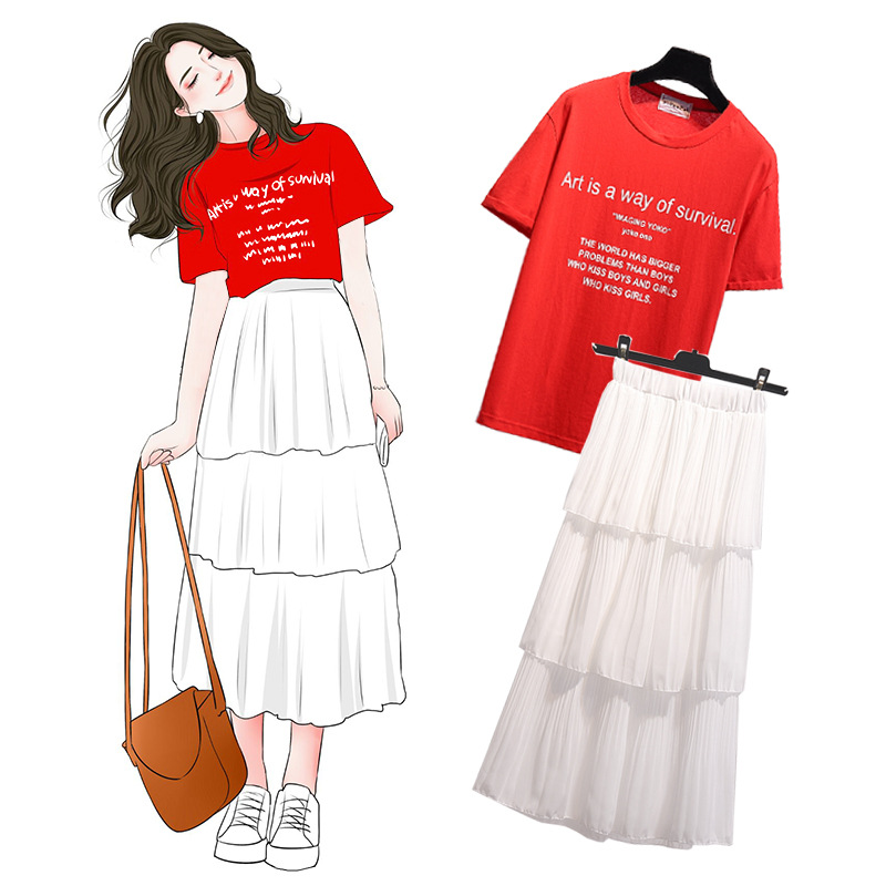 Korean-style New Style Students Cake Dress Set Versatile Lettered T-shirt Mid-length Fairy Two-Piece Set