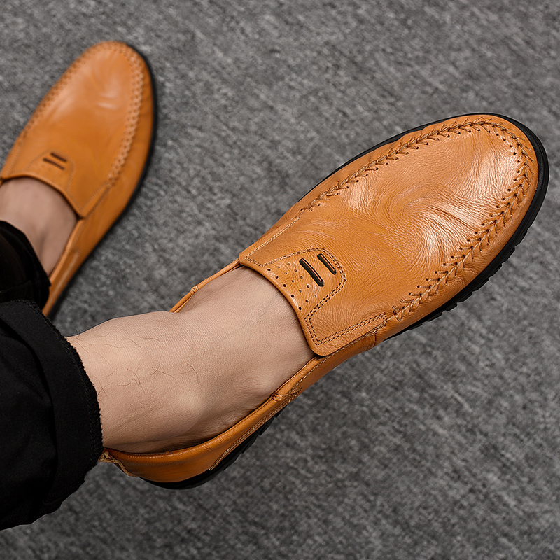 ROMMEDAL Men's Casual Shoes Genuine Leather Slip-on Male Driving Loafers Breathable Comfy Handmade Outdoor Walking Flats For Man