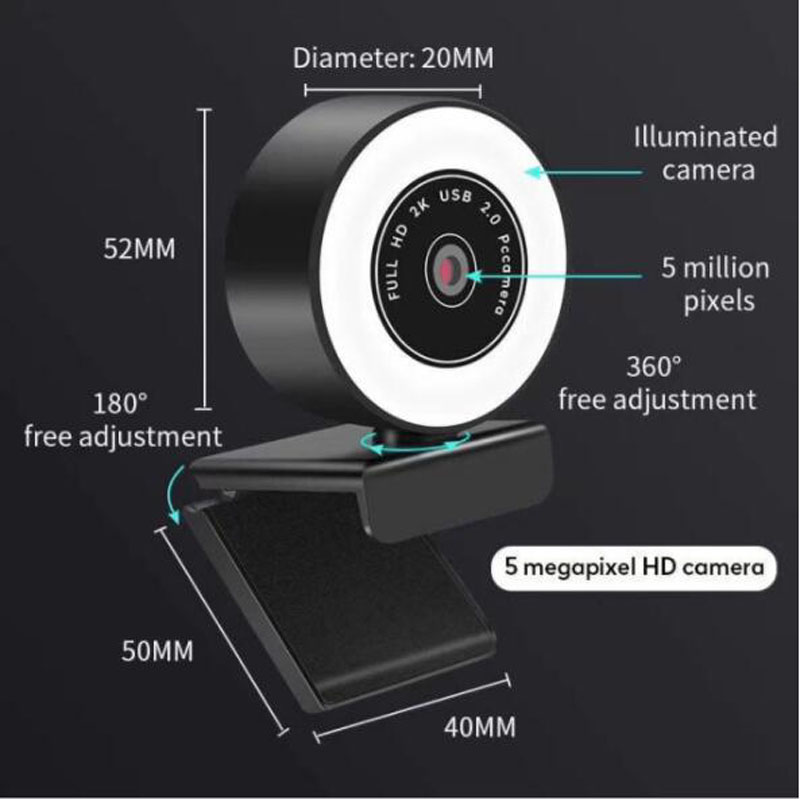 Hd 720p 1080p 2k webcam computador pc