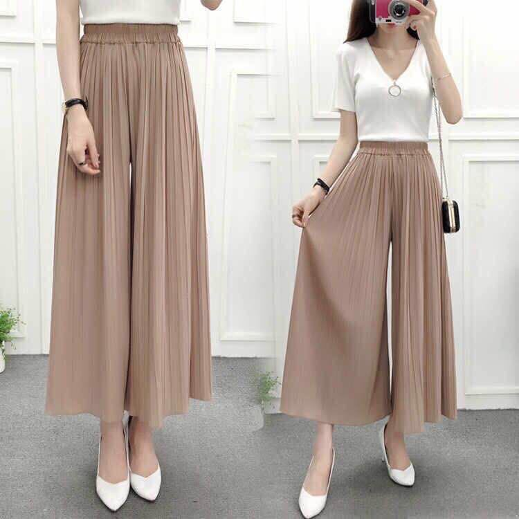 Chiffon Loose Pants Women's Summer Pleated 2018 New Style Korean-style Students Capri High-waisted Loose Fat Mm Culottes Straigh