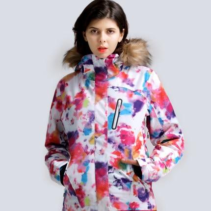 GSOU SNOW Women Ski Jacket Fur Hooded Skiing Clothing Snowboard Coat Windproof Waterproof Outdoor Sport Wear Winter Clothing New