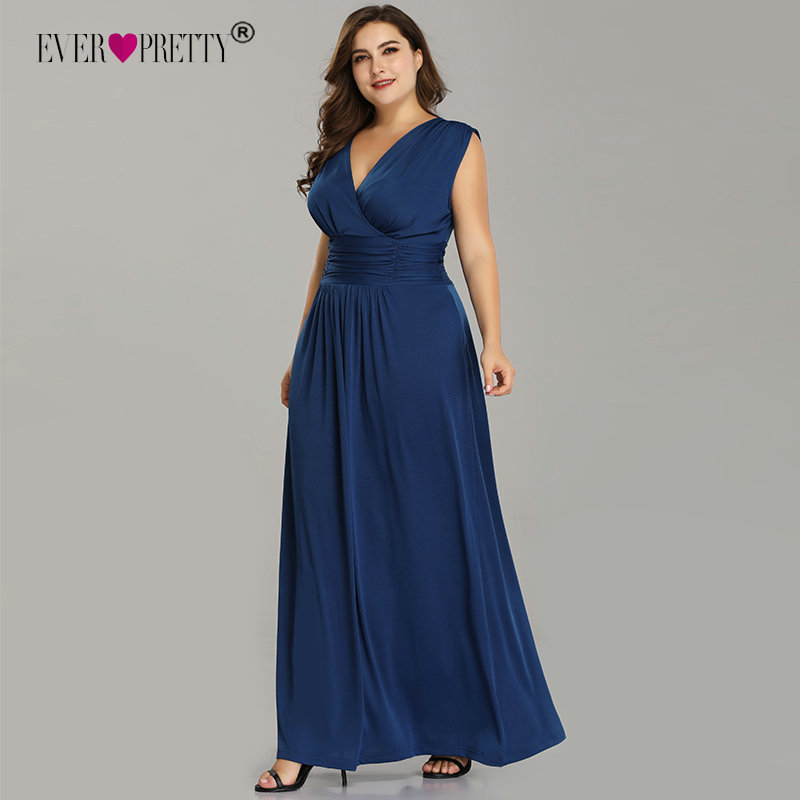 Plus Size Evening Dresses Ever Pretty V-Neck Sleeveless Chiffon Formal Dress Cheap Pleated Long Robe De Soiree Abendkleider 2019