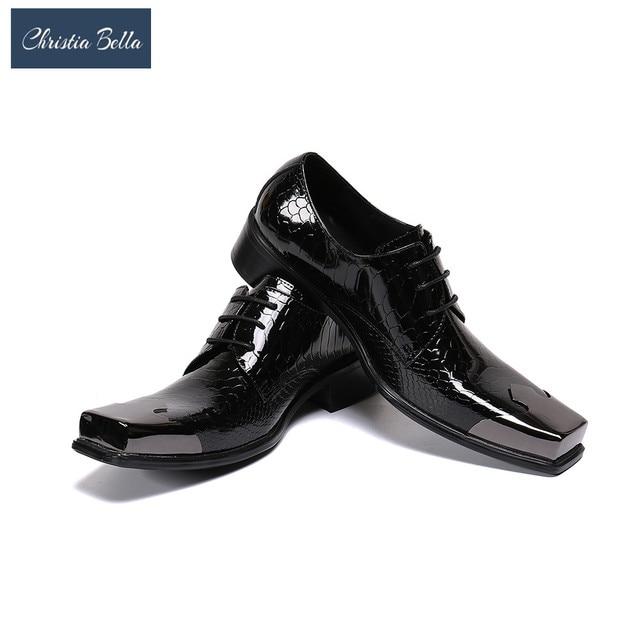 Christia Bella Mens Italian Handmade Dress Shoes Leather Church Shoes Burgundy Black Oxfords Cap Toe Social Gents Suit Shoes