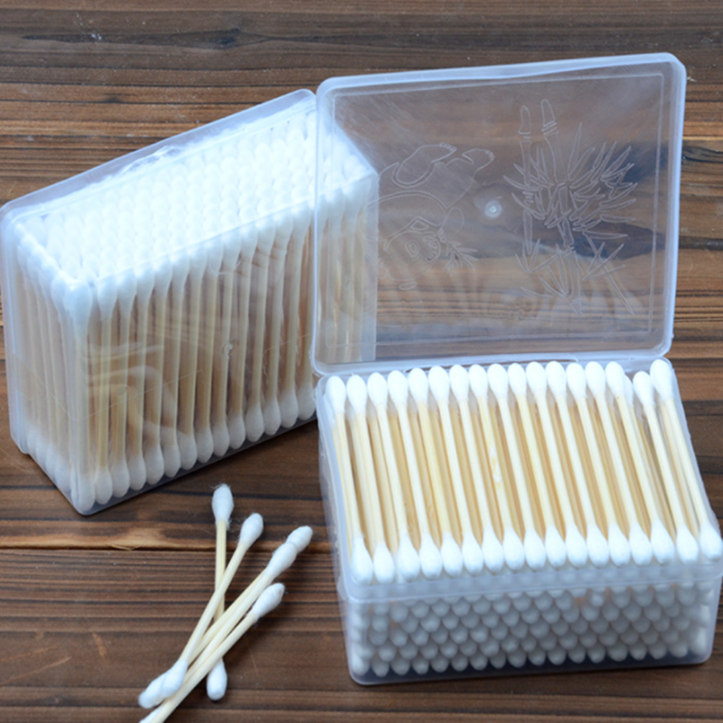 140Pcs/Box Double Head Bamboo Cotton Buds Adults Makeup Cotton Swab Wood Sticks Nose Ears Cleaning Health Care Tool