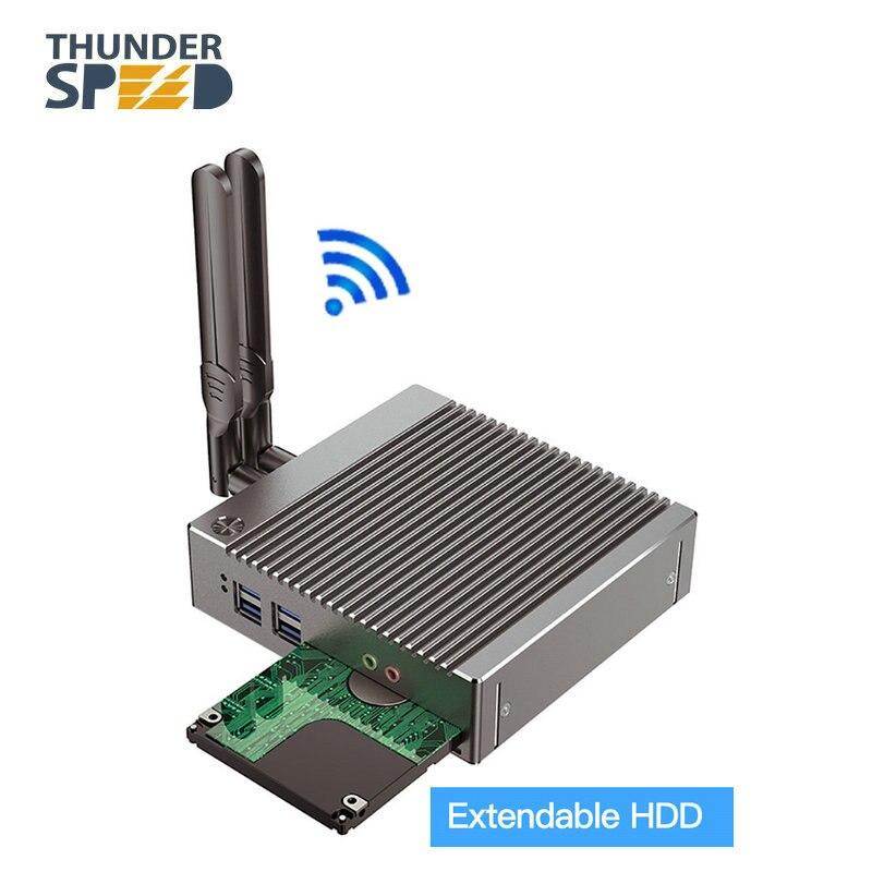 Бесплатная доставка DHL! Безвентиляторный мини ПК Celeron N2940 Barebone Nuc компьютер Win10 Pro Linux HTPC VGA HDMI WiFi Gigabit Lan