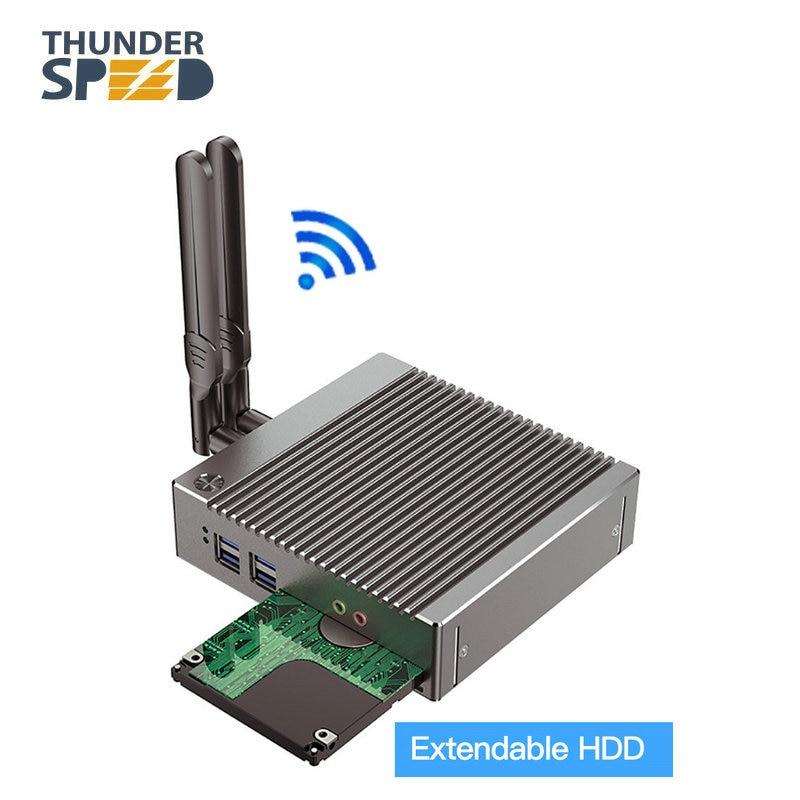 Free Shipping! Fanless Mini PC Celeron N2940 Barebone Nuc Computer Win10 Pro Linux HTPC VGA HDMI WiFi Gigabit Lan