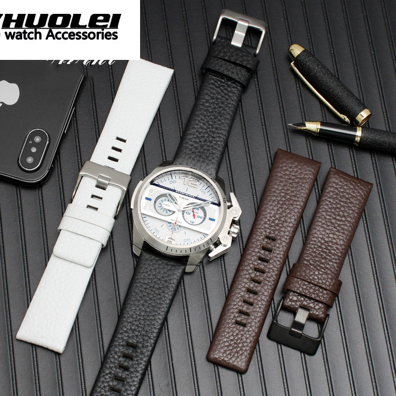 22mm 24mm 26mm 28mm 30mm High Quality Genuine Leather Genuine Leather Watchband Black& White& Brown  Watch Strap For DZ7311