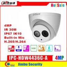 Dahua IP 카메라 4MP IPC HDW4436C A IR50M H.265/H.264 풀 HD 내장 마이크 CCTV 네트워크 카메라 WDR 다국어 IVS