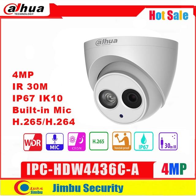 Dahua IP Camera 4MP IPC HDW4436C A IR50M H.265/H.264 Full HD Built in MIC CCTV Network Camera WDR Mulli language IVS