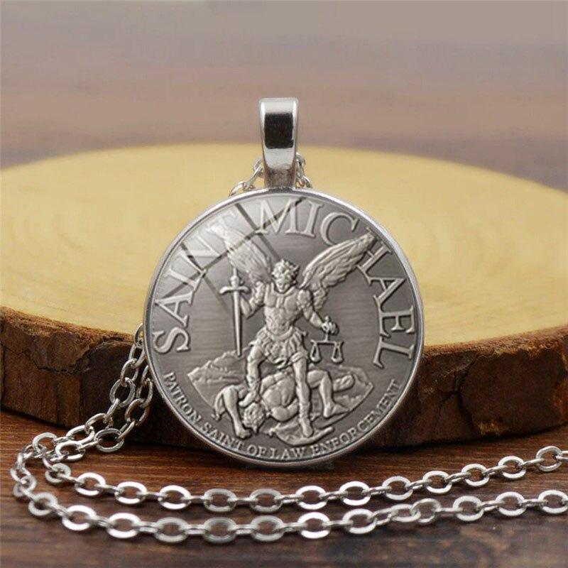 men necklace Archangel St.Michael Protect Me Saint Shield Protection Charm russian orhodox pendant Chain Necklace