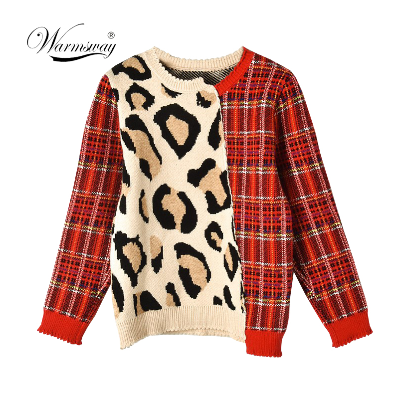 Vintage Leopard Print Plaid Patchwork Korean New Autumn Irregular Knitted Sweater Women Pullover Feminino Casual Jumper C-485
