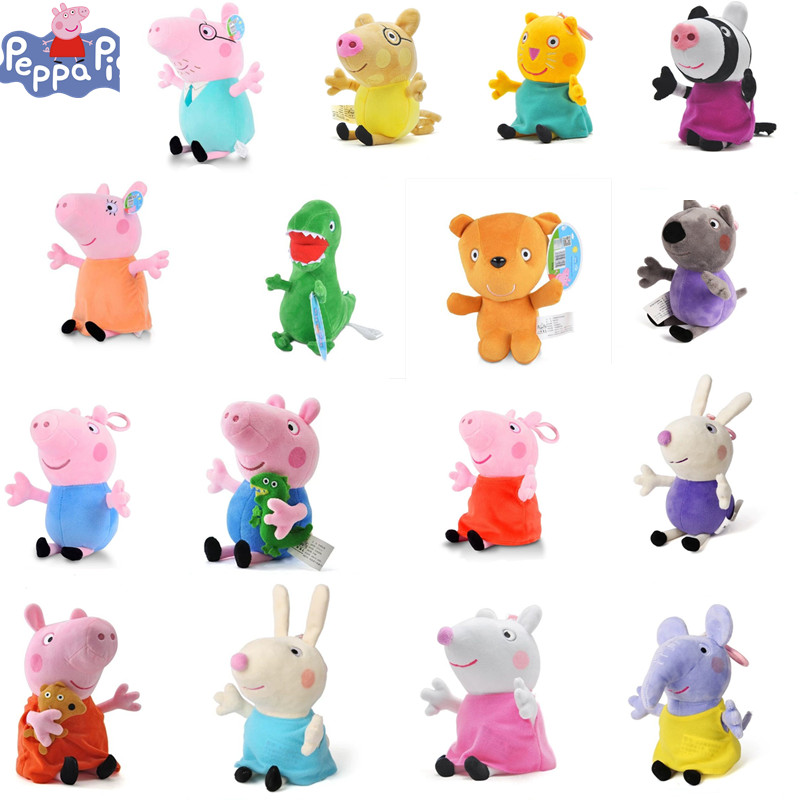 Original 19cm Peppa Pig Family George Mommy Susie Anime Dolls Dinosaur And Teddy Bear Plush Stuffed Toy Christmas Gifts for Kids