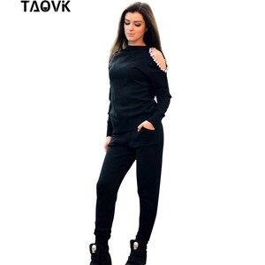Image 4 - TAOVK יהלומי נשים של סריגת חליפות למעלה + סרוג מכנסיים שתי חתיכה להגדיר נשי חורף תחפושות מסלול נשים חליפה