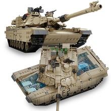 Kazi M1A2 Танк автомобиль, совместимый с Legoings Танк Строительные блоки Детская Военная сборка технический кирпич модель игрушки