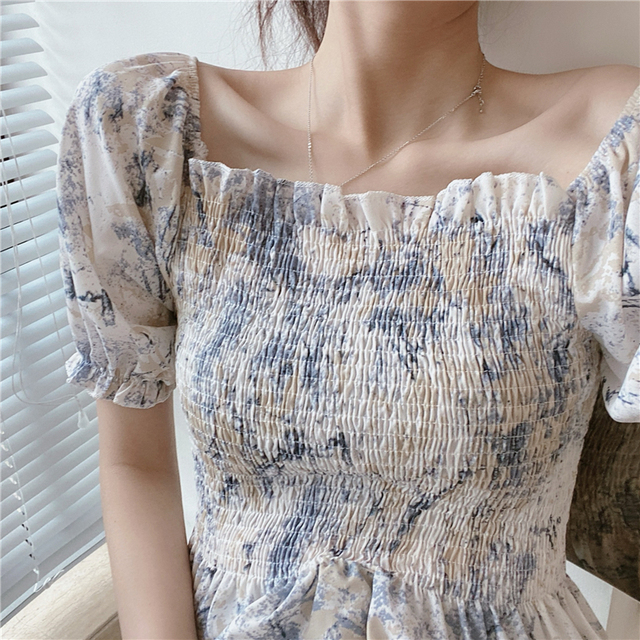 Vintage Blouse Women Summer Square Collar Puff Sleeve ruffles ladies crop Tops Plus Size Blouses Shirts camisas mujer 1