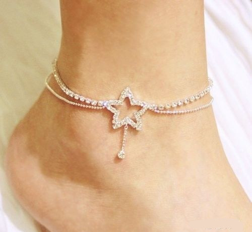 Bohemian Women Fashion Cute Crystal Five-pointed Star Beach Anklet New Hollow Heart Barefoot Leg Ankle Bracelet Foot Jewelry