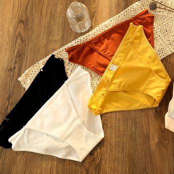 3 sztuk niskiej talii majtki damskie bawełniane bielizna-majtki dla kobiet sexy komfort seamles jednolity wysoki jakości niski wzrost majtki damskie tanie i dobre opinie 渔鹿跃 COTTON Figi 8518 Stałe Niskim wzrostem WOMEN