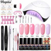 Maphie 20Pcs/Lot Pink Color Gel Nail Polish Kit Soak Off Uv Gel With Base Top Coat Gift Nail Art Tools Set Semi Permanent Gel