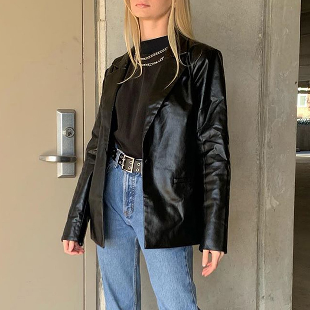 PU women leather jacket autumn coat 2020 streetwear black women Jacket y2k esthetic gothic vintage 90s outfits