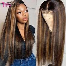 Парик Tinashe 4x4, парики из человеческих волос на фронте с кружевом, 180, 250 плотность, бразильский прямой парик на фронте шнурка Remy 360, парик на фро...