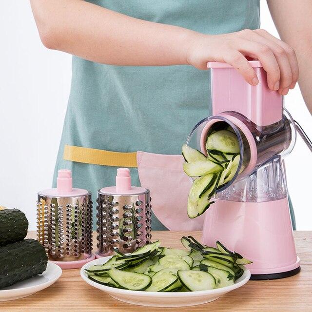 قطاعة الخضراوات اليدوية تقطيع تدوير آلة قطع ماندولين البطاطس الجزرة مبشرة مع 3 الفولاذ المقاوم للصدأ المروحية شفرات المطبخ أداة