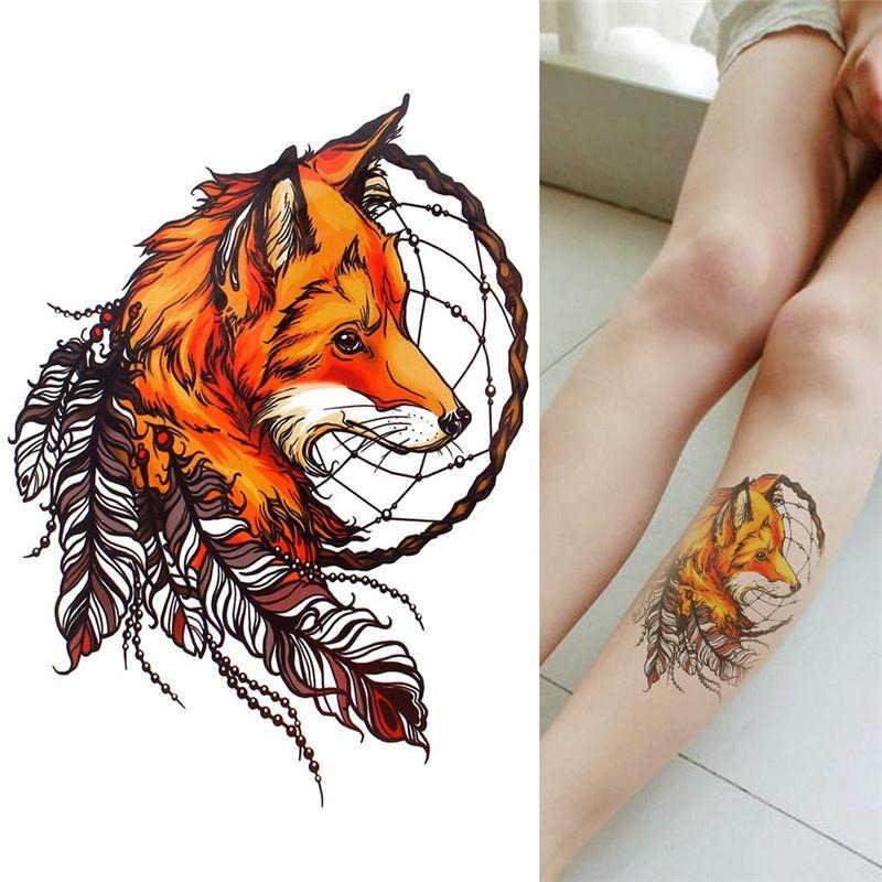 Sahte dövme 21*14.8CM kadın erkek sevimli seksi vücut sanatı güzellik baykuş tilki kurt makyaj su geçirmez geçici dövme çıkartmalar
