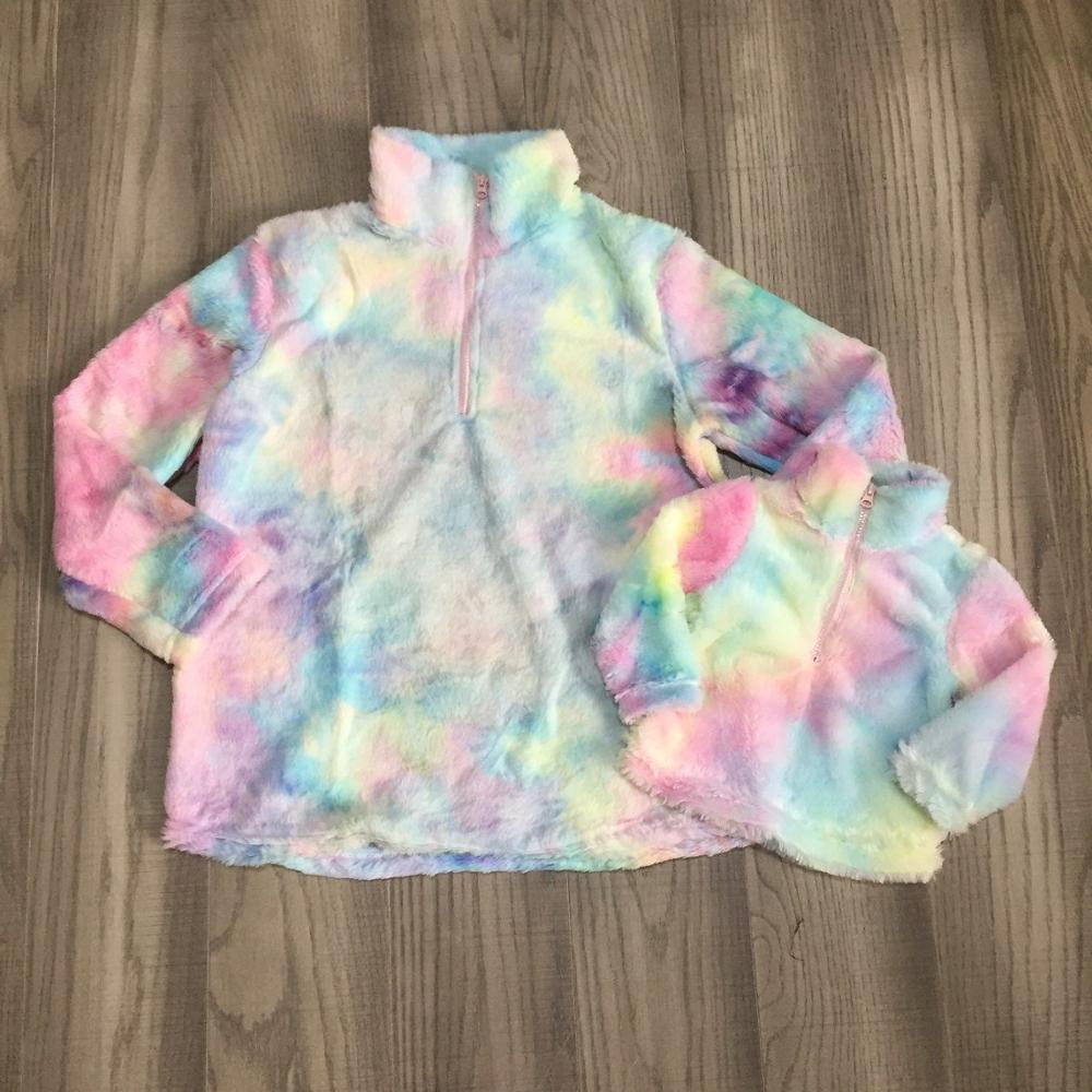 Baby Girl Winter/spring Top Clothes Girls Plush Raglans With Rainbow Color Girls Sherpa Top