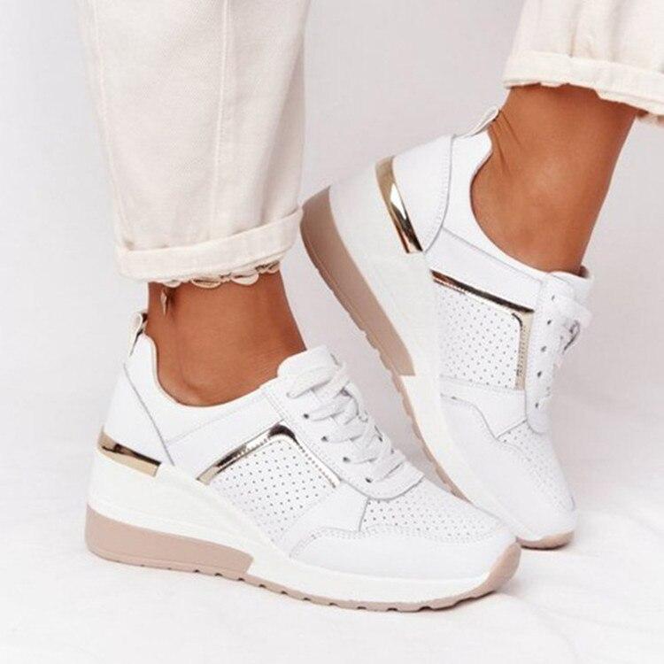 Женские кроссовки со шнуровкой, спортивная обувь на танкетке, Женская Вулканизированная обувь, повседневные женские кроссовки на платформ...