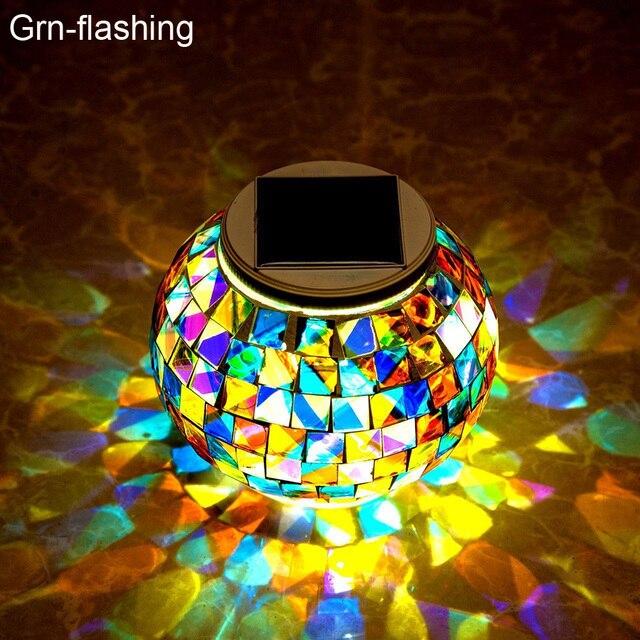 تعمل بالطاقة الشمسية فسيفساء كرة زجاجية مصابيح حديقة مقاوم للماء في الهواء الطلق أضواء الحديقة الشمسية الملونة تغيير ساحة شرفة مصابيح