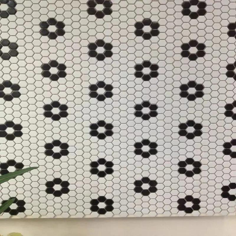 nordic classic glossy matt hexagon black white ceramic mosaic tile kitchen backsplash pool bathroom hallway wall and floor tile