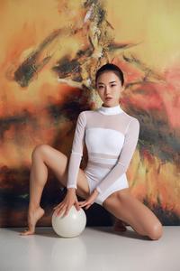 Image 5 - Балетное трико с длинным рукавом, женское гимнастическое трико для взрослых, цельный трико с высоким воротником, прозрачное Сетчатое трико, Боди для танцев