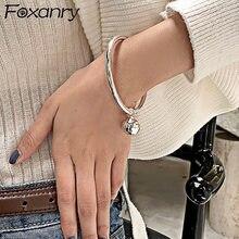 Foxanry minimalista 925 prata esterlina brilhante pulseira para as mulheres nova moda criativa bola pingente festa jóias presentes atacado