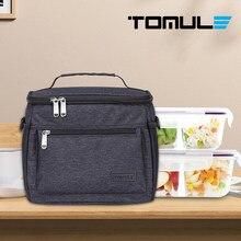 Tomule saco de almoço térmico para as crianças dos homens sacos de piquenique moda sacos portáteis à prova dwaterproof água isolado pacote preto