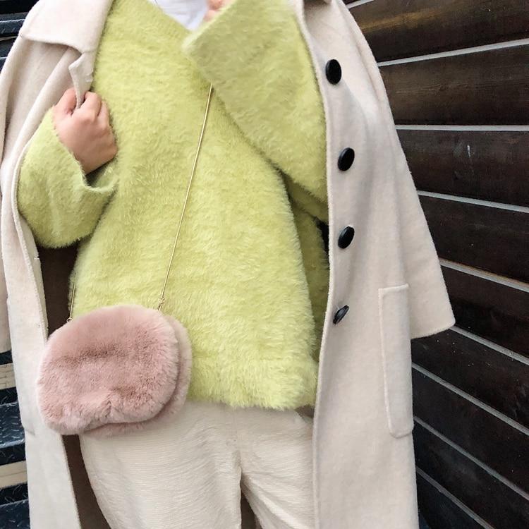 Bolsa de Outono Cabelo das Senhoras Bolsa de Ombro da Forma Venda de Moda 2019 para Mulheres Inverno Nova Pele Real Coelho Portátil Bolsa Feminina Estilo Quente &