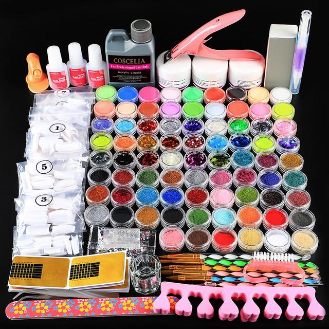 Acrylic Manicure Set 78pcs Acrylic Powder Glitter For Nail Art Kit Crystal Rhinestone Brush Decoration Tools Kit For Manicure 1