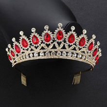 FORSEVEN Wedding Crowns Red Green Blue Rhinestone Tiara Big Crowns with Comb Princess Party Prom Wedding Hair Accessories(China)