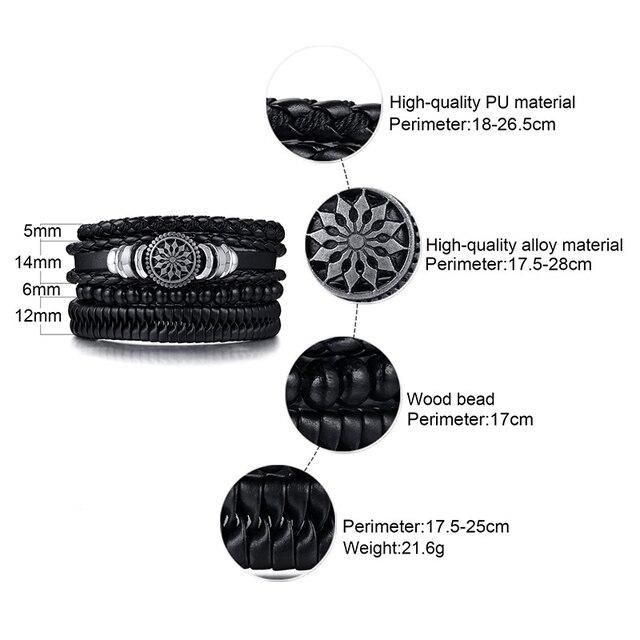 Vnox 4pcs/ set Adjustable Leather Bracelets for Men Braided PU Black Brown Bangle Life Tree Leaf Rudder Charm Bracelet Gift 6