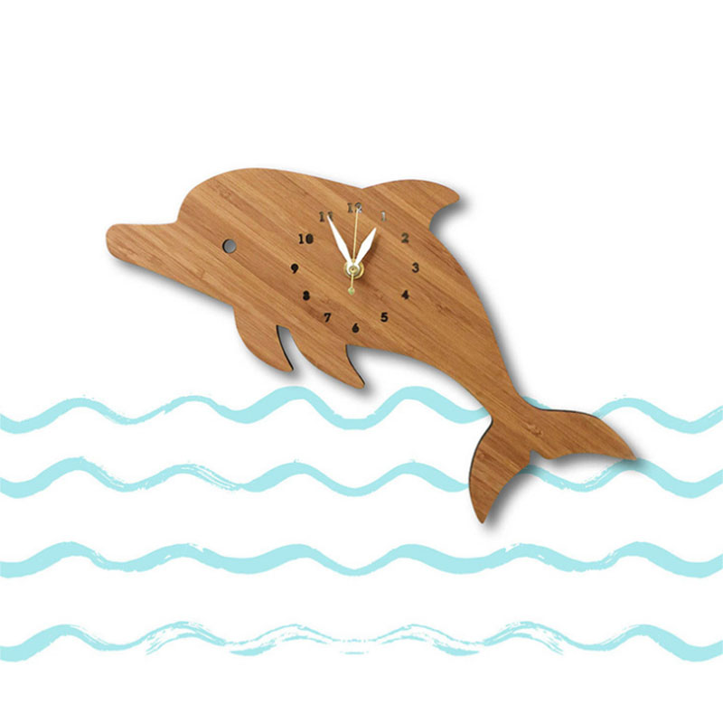 12 Inch Bamboo Dolphin Clock For Home Wall Decor Cartoon Animal Bamboo Clocks Animals Europe Modern Design Kids Room Decoration
