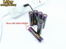 6 pièces batterie dordinateur portable USB 18650 3500mAh 3.7V Li ion batterie rechargeable USB 5000ML Li ion batterie + fil USB
